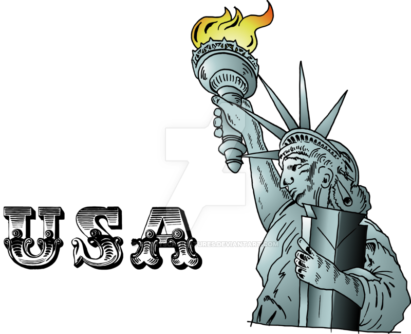 jpg black and white Usa drawing cartoon. Statue of liberty by