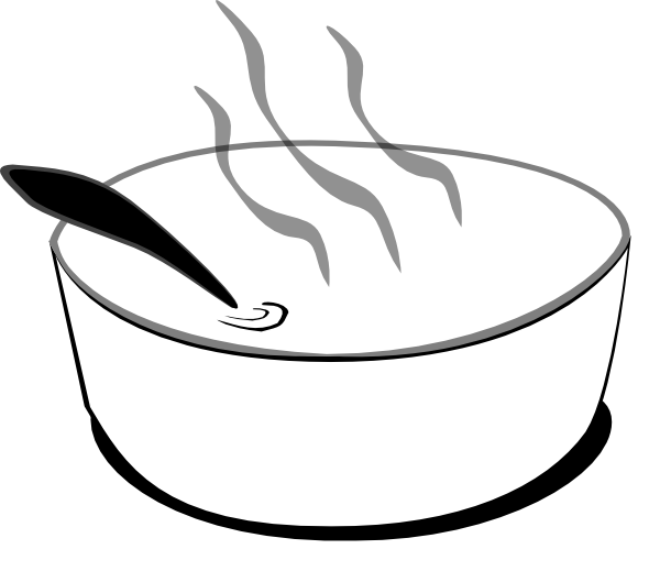 png free Flying Soup Bowl In Gray Scale Clip Art at Clker