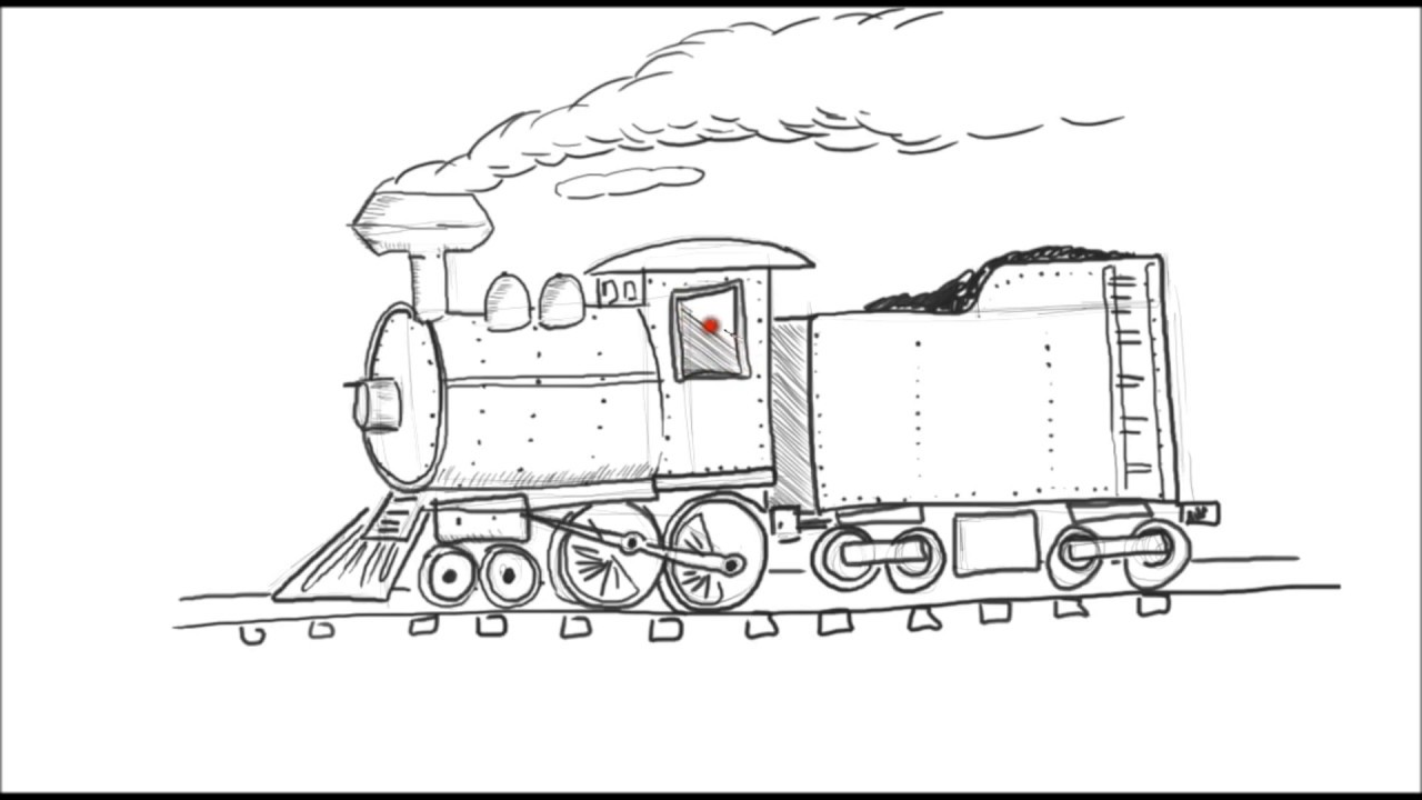vector library How to draw a cartoon train steam engine locomotive