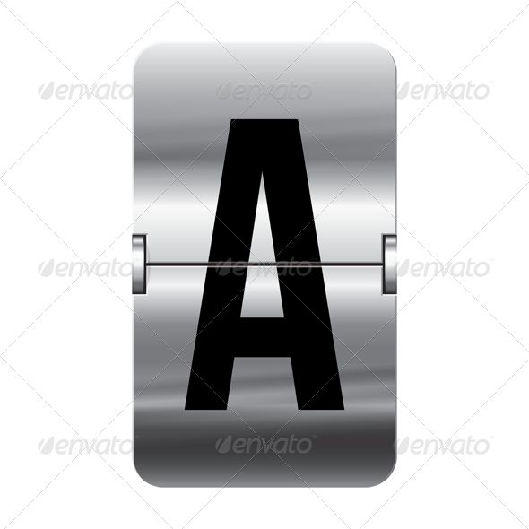clip art transparent stock Silver Metal Vector Departure Board Alphabet by StockwerkDK
