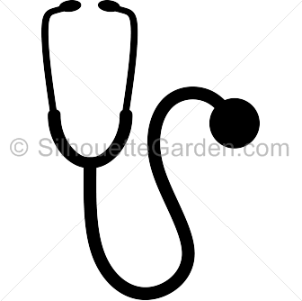 picture black and white library Vector doctor stethoscope. Silhouette clip art download