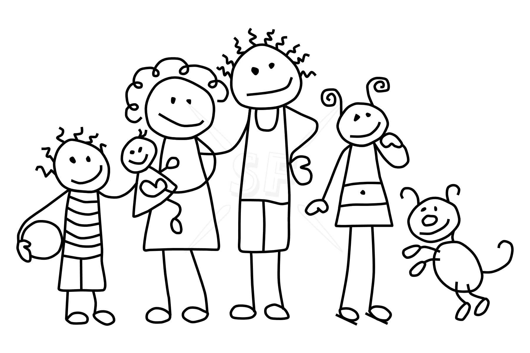picture free Drawing stick family. Free figure download clip