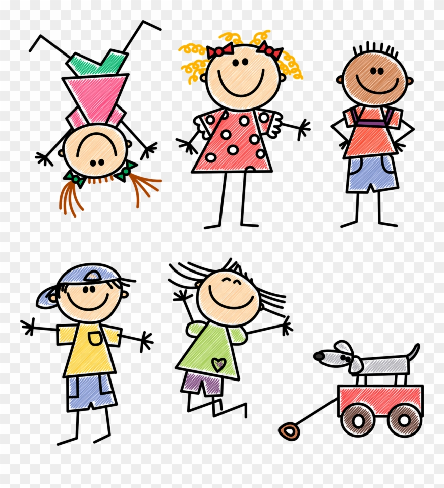 png royalty free download Childcare clip art png. Stick figure kids clipart