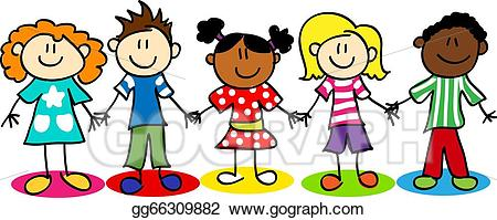 png library stock Vector ethnic diversity . Stick figure kids clipart