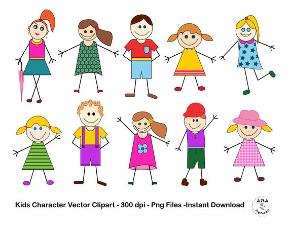 clipart library stock Character clip art cute. Stick kid clipart