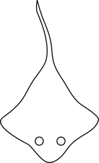 vector black and white stock Stingray clipart free. Colorable clip art.
