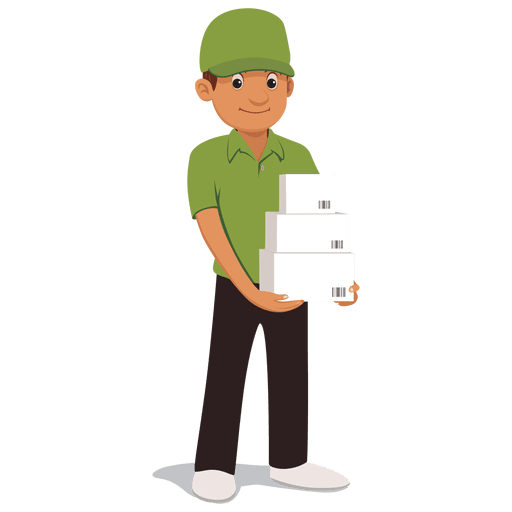 jpg black and white Delivery vector boy. Parcel man cartoon transparent