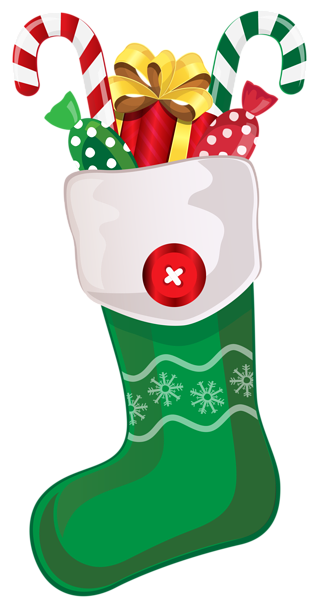 picture library stock Christmas Green Stocking with Candy Canes PNG Clipart Image