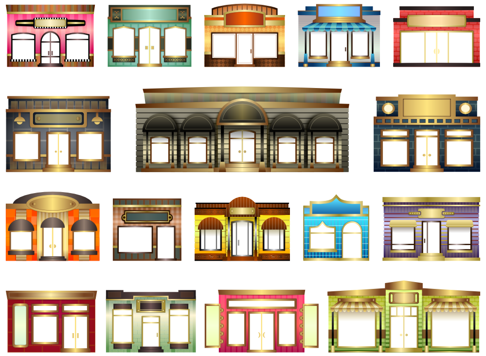 graphic black and white Retail Clipart shop front