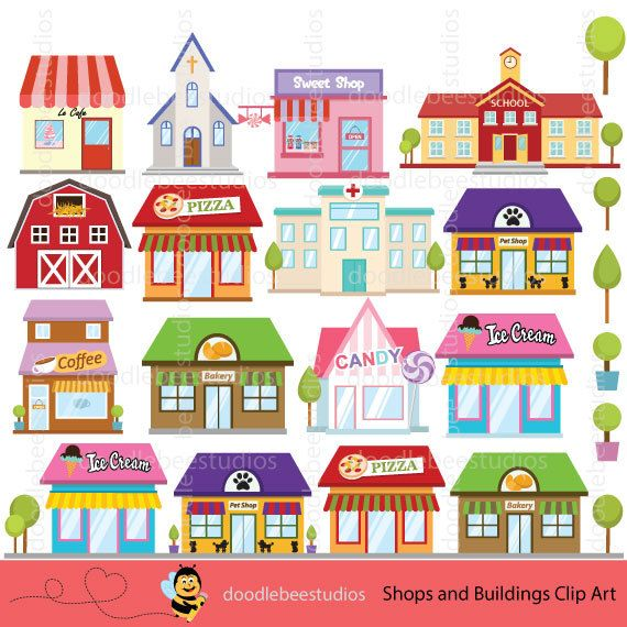image royalty free Shops buildings building . Art shop clipart.