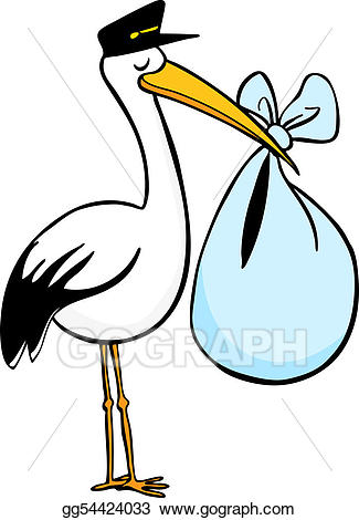 black and white Vector delivery illustration . Stork clipart.