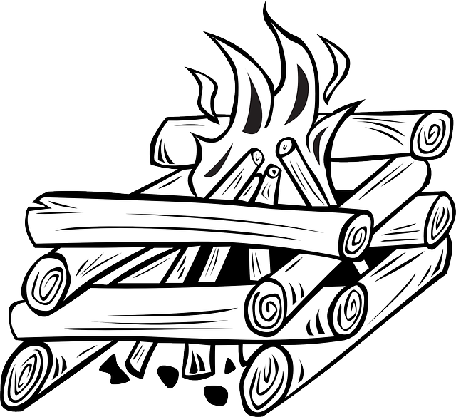 png Cartoon Fire With Wood