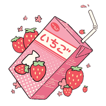 graphic library download Drawing strawberries pastel. Aesthetic kawaii milk strawberry
