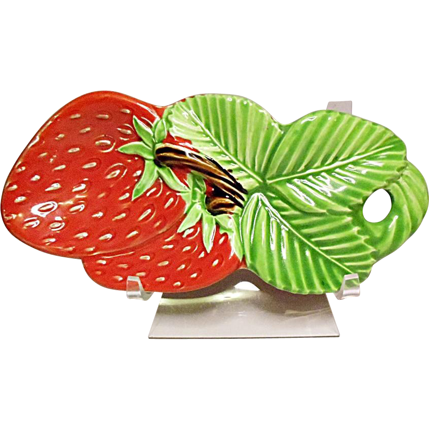 graphic freeuse Vintage Ceramic Made In Japan Bright Red Strawberry Spoon Rest
