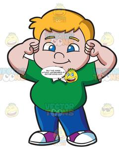 picture free library Strong kid clipart. A fat male .