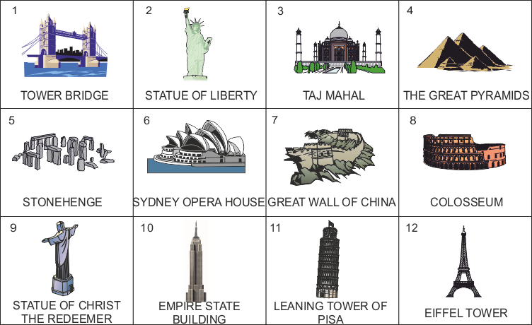 svg freeuse stock Structures of the world. Structure drawing famous