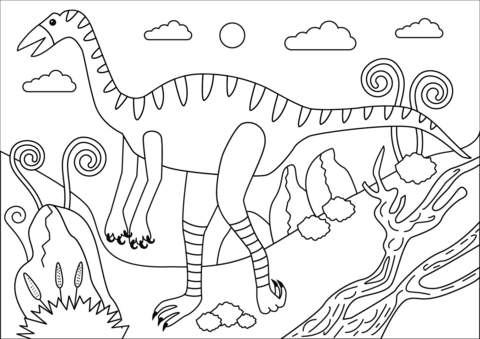 jpg library Free printable pages . Struthiomimus dinosaur coloring page