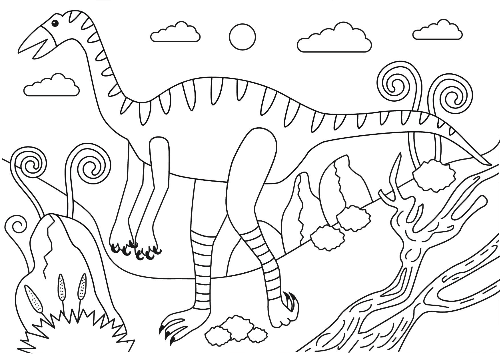 png royalty free Pin on free pages. Struthiomimus dinosaur coloring page