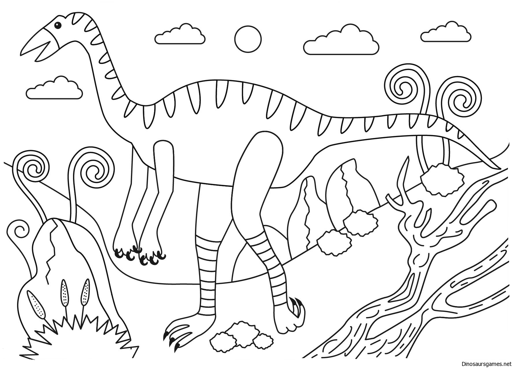 jpg royalty free download . Struthiomimus dinosaur coloring page