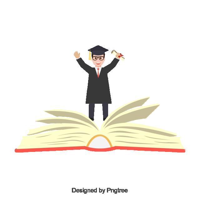 clip library stock Student vector. University graduate graduation book.