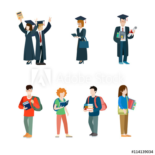 clip art freeuse library Student vector. Icon set graduate students.