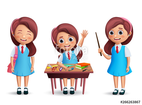 svg freeuse library Student vector. School girl character set.