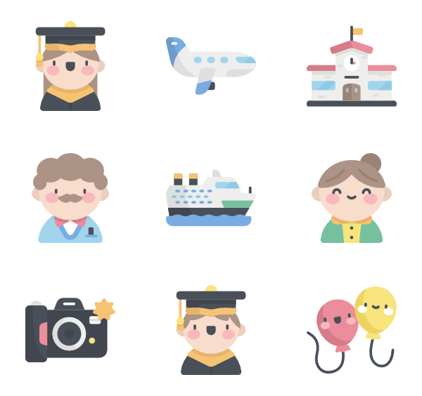 vector free Graduation cap Icons