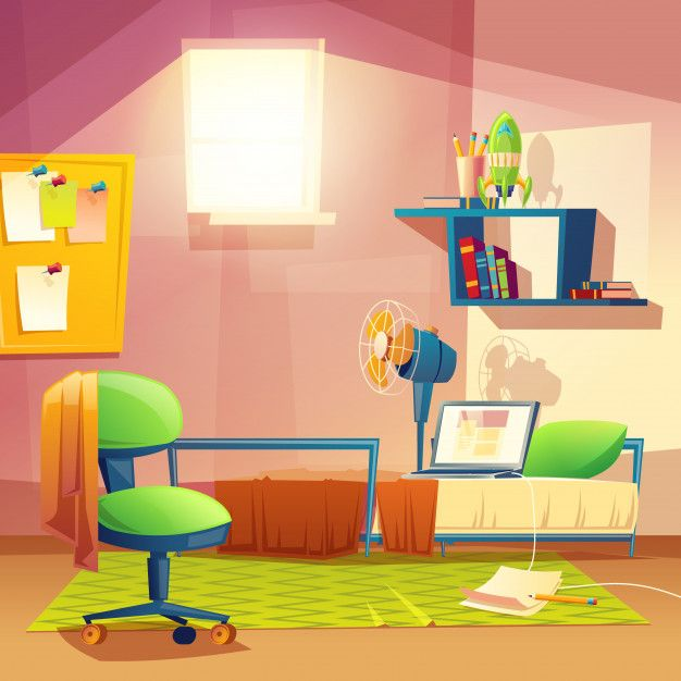 black and white library Vector cartoons room. Student small cartoon bedroom