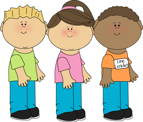 vector royalty free Students in class clipart. School line leader clip.