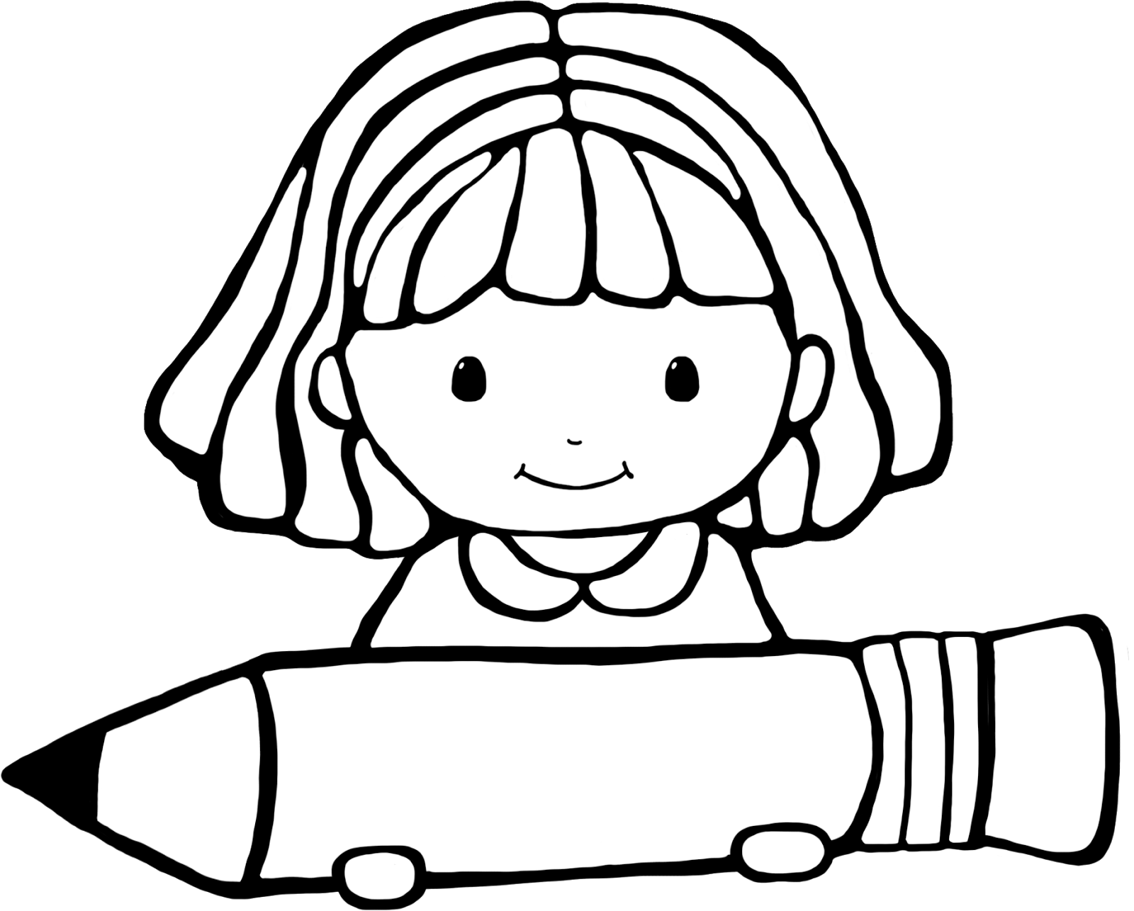 library Writer clipart little girl student. Drawing at getdrawings com