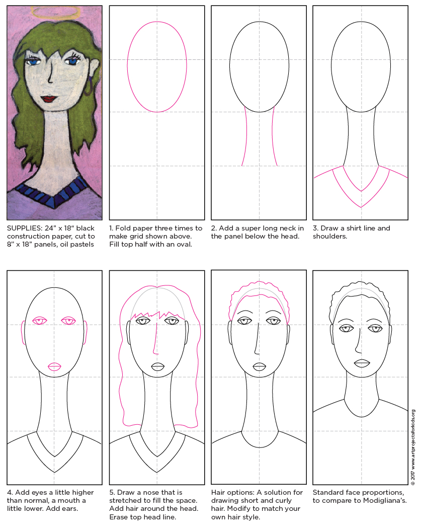 transparent stock Modigliani self portrait tutorial. Drawing neck kid