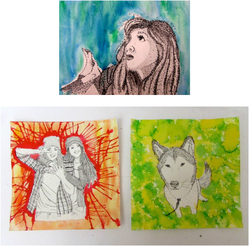image royalty free stock Reimagining work . Students drawing painted