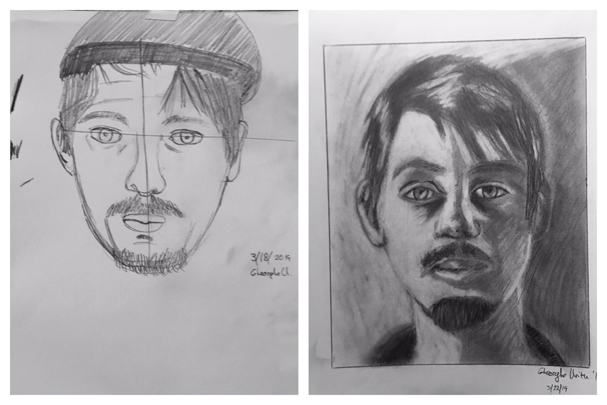 picture transparent Before after student drawings. Students drawing self portrait