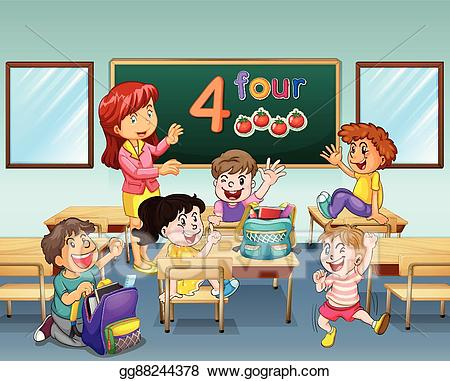 image black and white library Vector art teacher and. Students in classroom clipart.