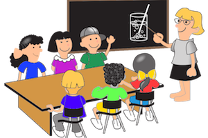 vector black and white Student portal . Students listening to teacher clipart.