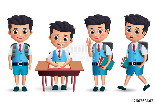 clip royalty free Students vector backpack. Student boy character set