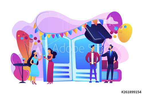 picture freeuse Students vector bright. Tiny people high school