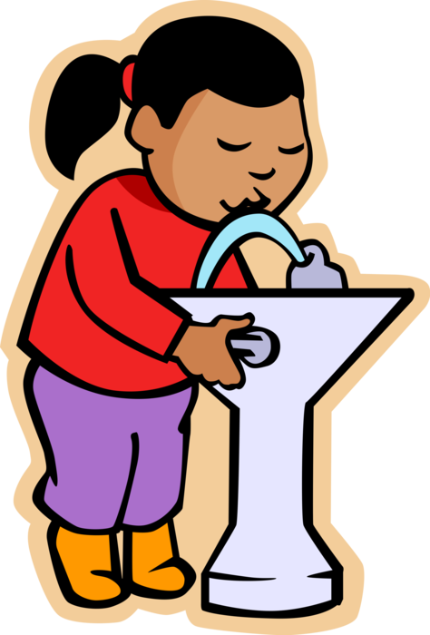 svg free download Girl Drinks Water at Drinking Fountain