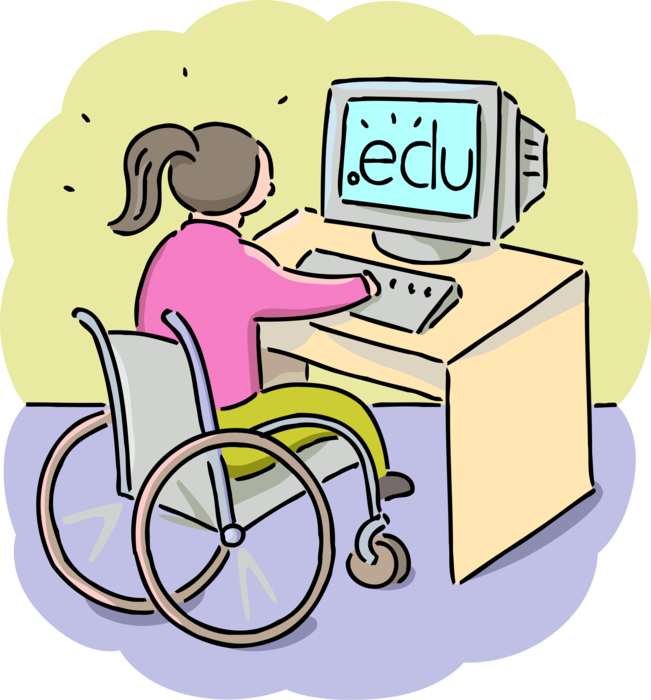 free Student with Disability Works with Computer