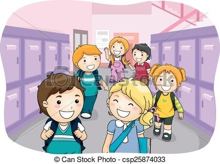 svg royalty free Students walking in hallway clipart. Kids locker illustration of
