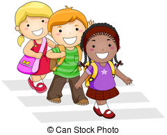 png black and white download Portal . Students walking in hallway clipart