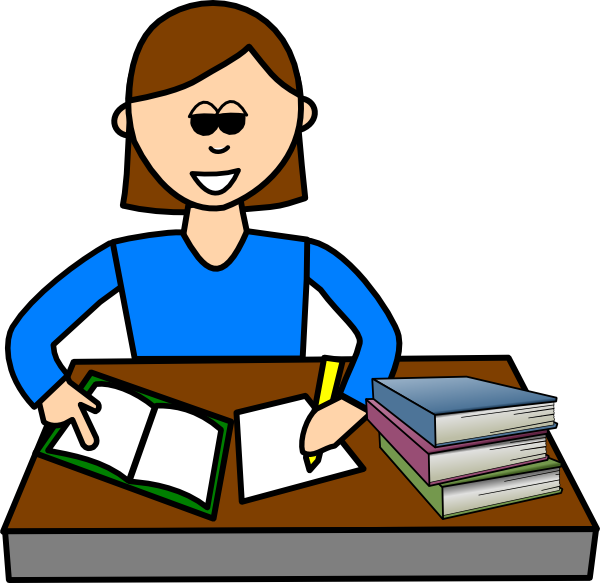vector black and white library Studying Clipart