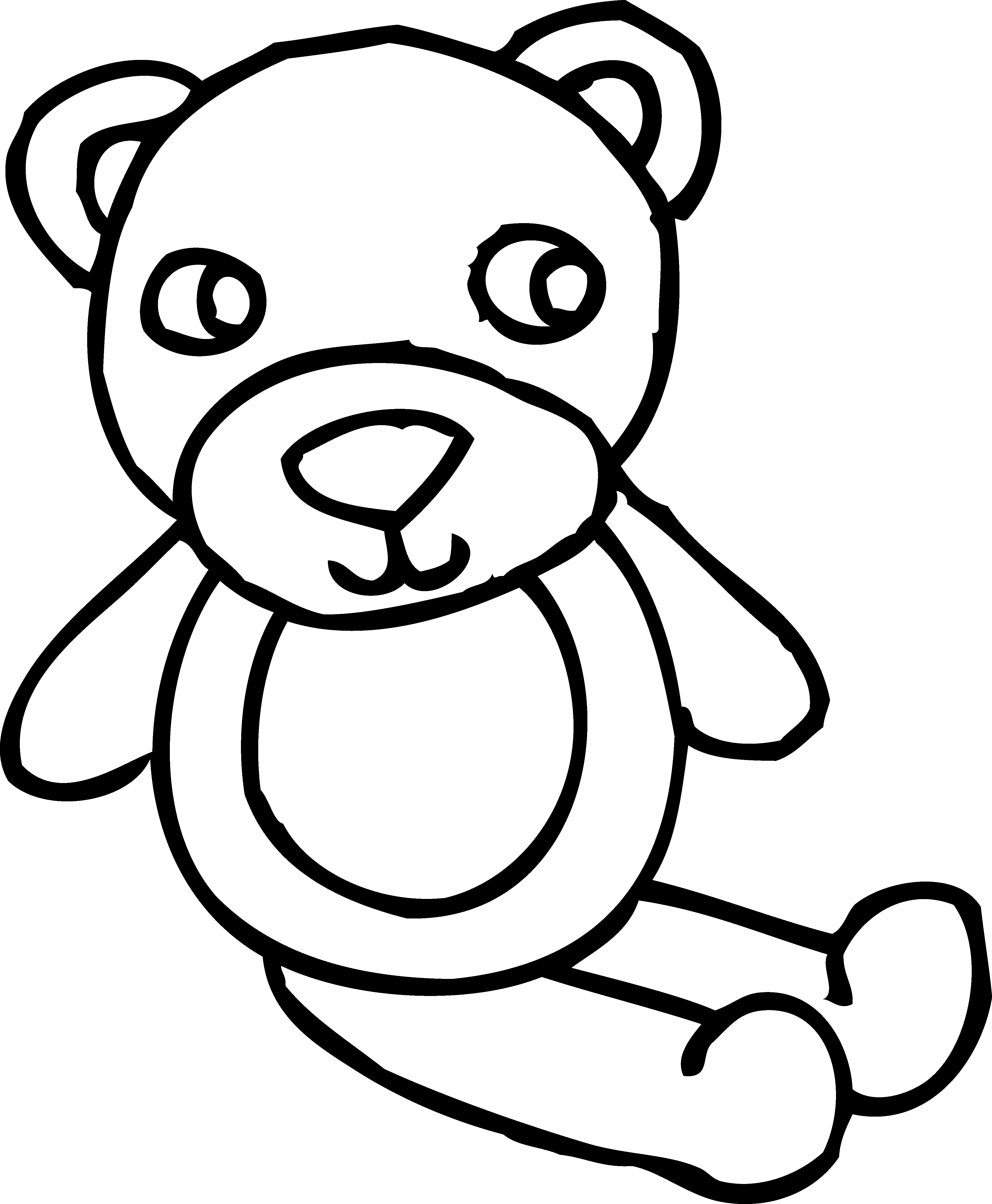 picture Teddy bear toy coloring. Stuffed animal clipart black and white
