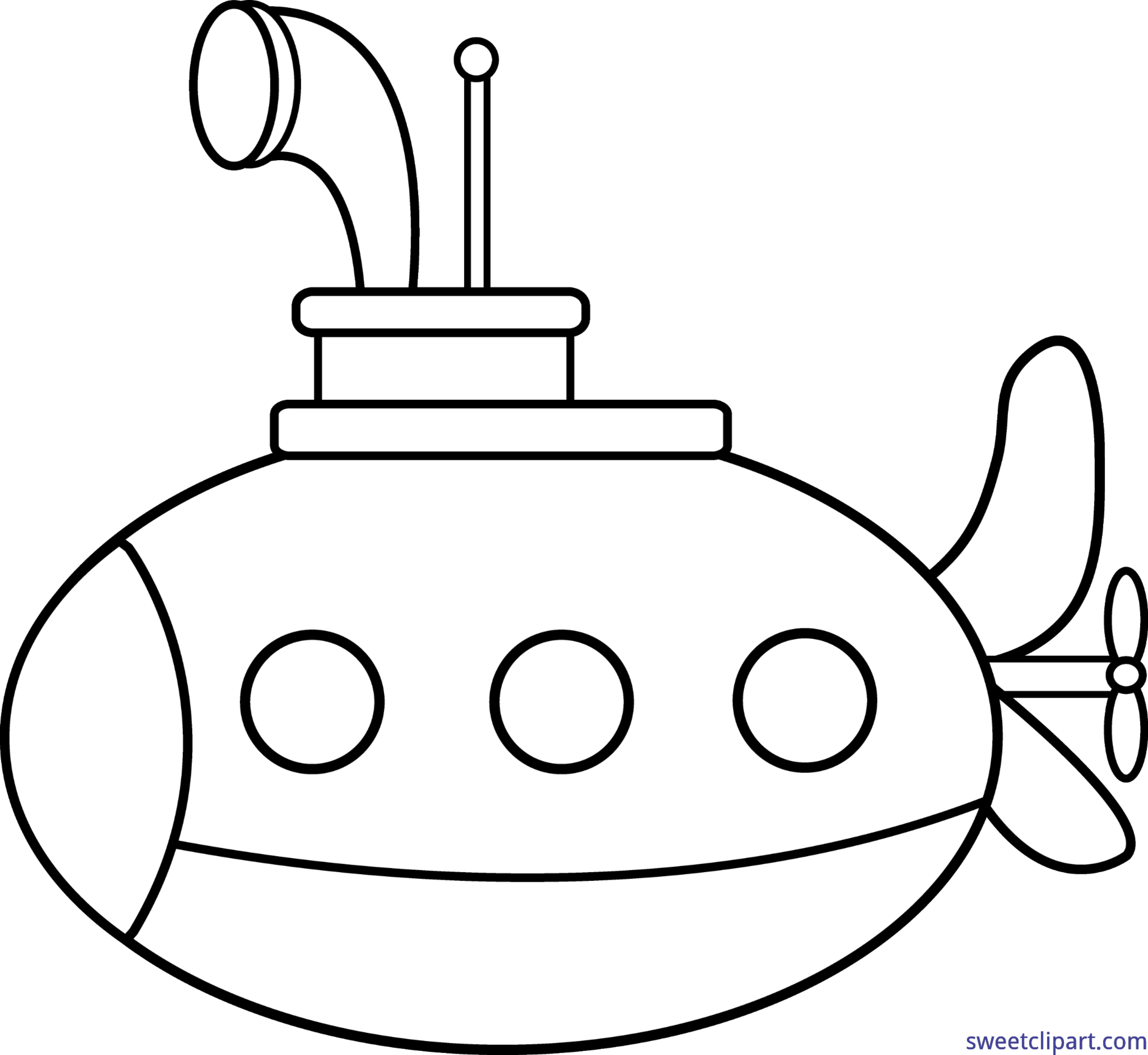 svg black and white library Lineart clip art sweet. Submarine clipart black and white
