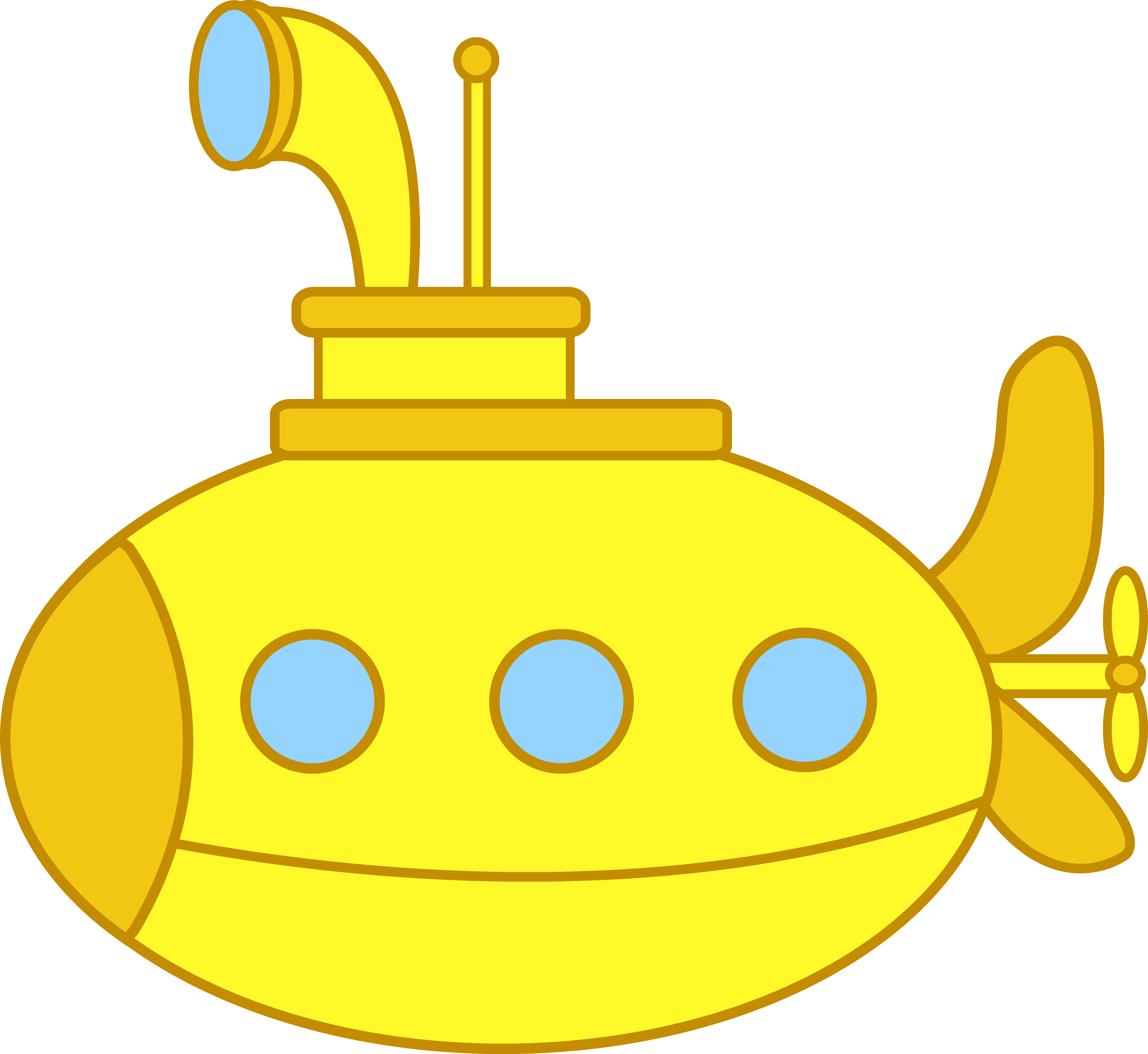 vector transparent download Yellow submarine clipart . Underwater vector art