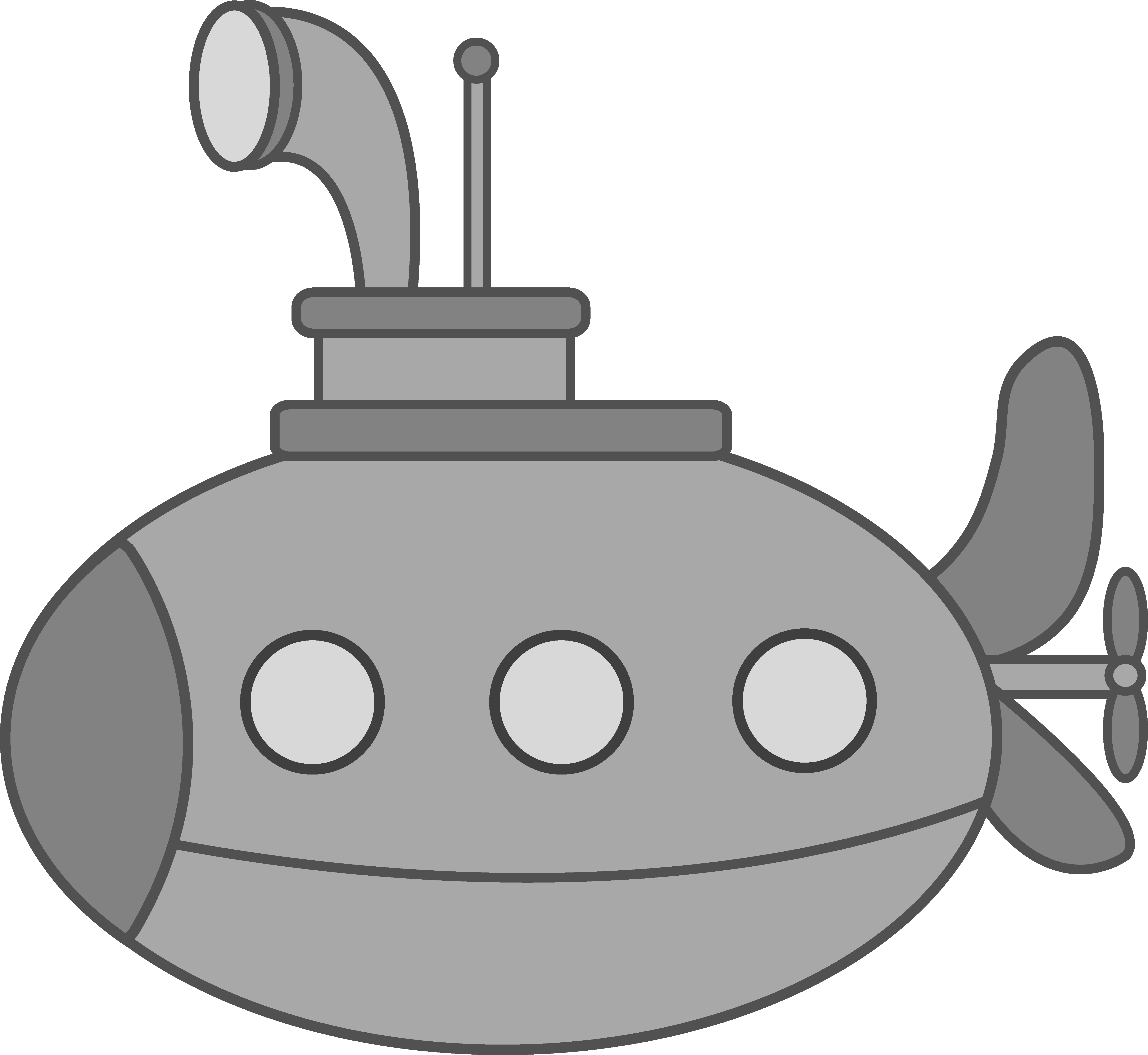 clip art transparent library Underwater vector art. Cute silver submarine free