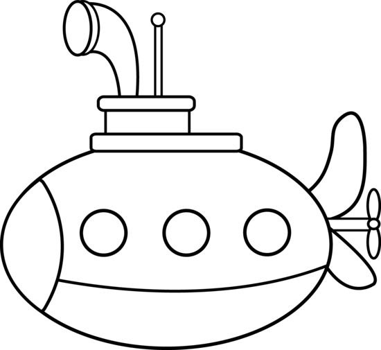 clipart black and white download Cute coloring page free. Submarine clipart black and white