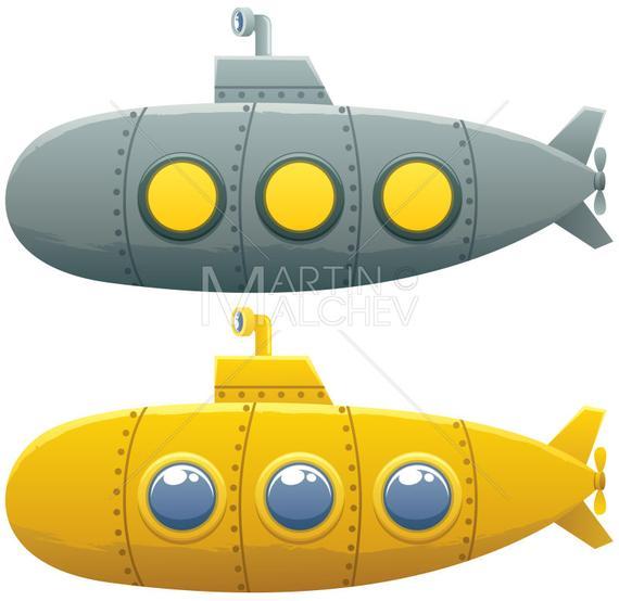 svg black and white download Submarine vector. Cartoon illustration yellow bathyscaphe
