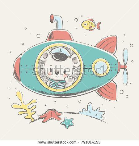 image black and white stock Cute baby bear sailor on a submarine cartoon hand drawn