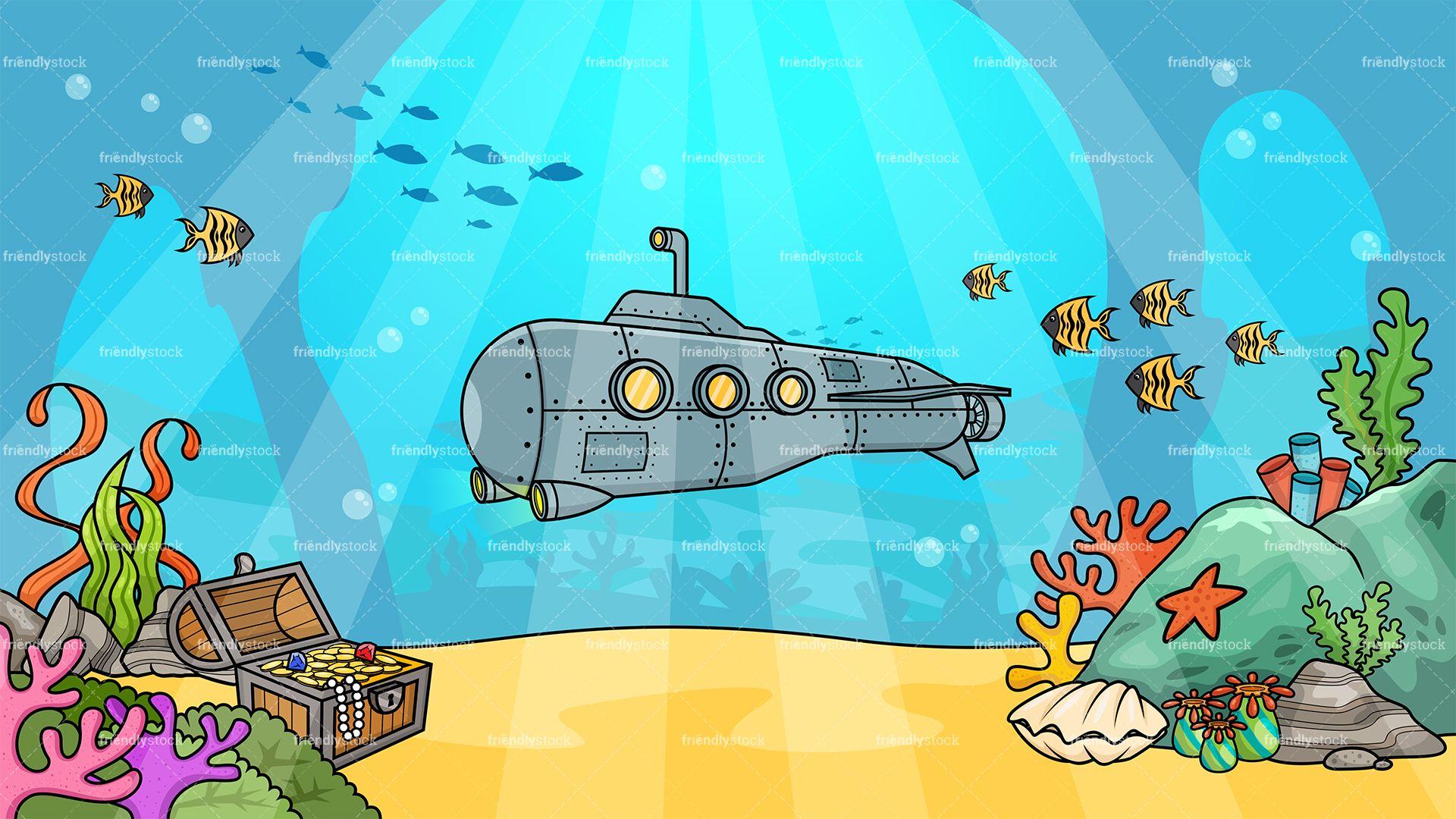 clipart transparent Underwater background ilustrations in. Submarine vector illustration